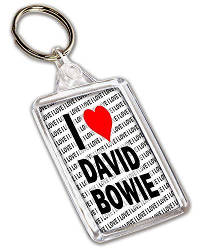 Llavero con texto en inglés'I Love David Bowie', regalo de...