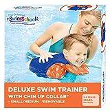 SwimSchool Swim Trainer Vest with UPF50 Shoulder Sleeves, Flex-Form Design, Removable Swim-Chin Aid, Adjustable Safety Strap, Small/Medium, Up to 33 Lbs., Blue/Orange