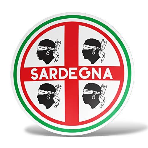 erreinge Sticker Sardegna Bandiera Scudo Italia Adesivo Sagomato in PVC per Decalcomania Parete Murale Auto Moto Casco Camper Laptop - cm 12