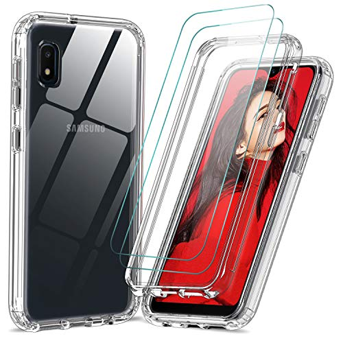 Samsung Galaxy A10e Case, Samsung A10e Case with Tempered Glass Screen Protector [2 Pack], LeYi 360 Full Body Shockproof Hard PC+Soft TPU Hybrid Bumper Crystal Clear Protective Phone Cases for A10e