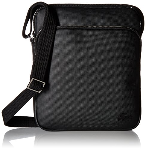 Lacoste Mens Classic Petit Pique Double Bag Messenger Bags, Black, One Size