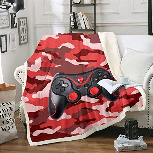 Manta de forro polar para videojuegos, diseño de camuflaje, juego 3D, color negro, manta de felpa con mando de acción para decoración de sofá, cama, bebé, 30 x 40 pulgadas