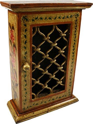 Guru-Shop Sleutelhanger, Gelakt Sleutelhanger Doosje met Deur - Patroon 9, 30x23x9 cm, Blikken, Dozen Kisten