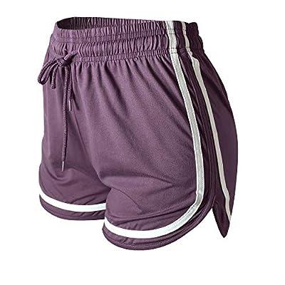"VALINNA Women's Athletic Yoga Running Workout Shorts Lounge Short Pants (S/M (24"" -31""), W-Purple)"