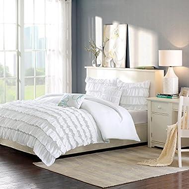 Intelligent Design Waterfall Comforter Set Full/Queen Size - White, Ruffles – 5 Piece Bed Sets – Ultra Soft Microfiber Teen Bedding for Girls Bedroom