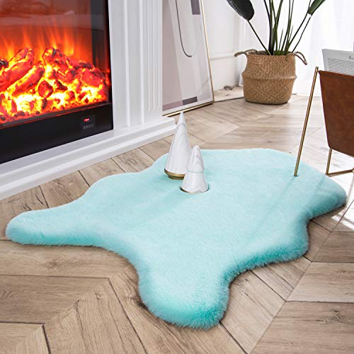 Ashler Ultra Soft Faux Rabbit Fur Chair Couch Cover Area Rug for Bedroom Floor Sofa Living Room Turquoise 2 x 3 Feet