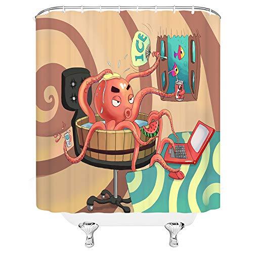 qianliansheji Duschvorhang-Set mit Tierpflanzen-Motiv, für Schlafzimmer, Wohnzimmer, Wohnzimmer, Wohnzimmer, Fenster, Vorhang, Farbe Gürtelhaken, 70 x 70 cm orangebraun 70