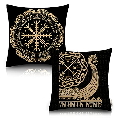 Black Celtic Viking Runic Compass Cushion Cover Throw Pillow Covers Set Of 2 Outdoor Circle Of Norse Runes Dragons Tattoo Couch Pillow Case Cotton Linen 18 X 18 Inches For Couch Sofa Bedroom Chair