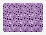 BTGSRK Cat Bath Mat, Funky Romantic Pattern with Little Hearts Funny Jumping Black Cat Characters, Plush Bathroom Decor Mat with Non Slip Backing,Lavander Pink Black 23.6(L) X15.7(W)