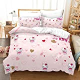 Tuoyhs Girls Hello Kitty Bedding Set Queen Size 3 Pieces Love Heart Duvet Cover Set for Kids Toddler Bed Set Comforter Cover, 1 Duvet Cover + 2 Pillowcase