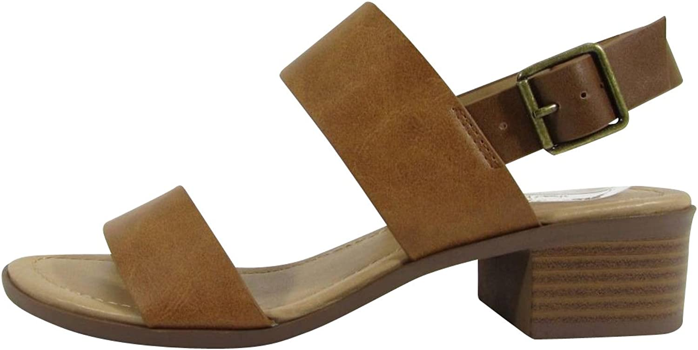 City Classified Footwear Women's Open Toe Strappy Ankle colorblock Chunky Stacked Block Heel Sandal