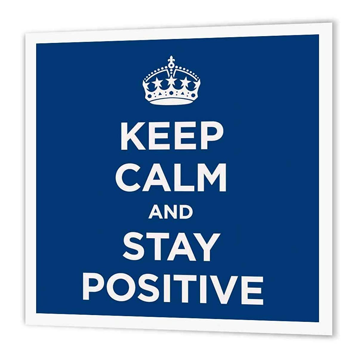 3dRose ht_194342_1 Keep Calm and Stay Positive. Navy-Iron on Heat Transfer Paper for White Material, 8 by 8-Inch