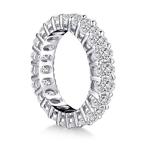 Damen-Ring Swarovski Zirkonia Silber Platieniert, Jewelry Zirkonia Versprechen Verlobungsring, Damen Ring Breit Silber Zirkonia für Frauen und Mädchen (Silber, 56(18,1))