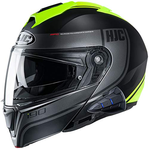 HJC i90 Modular Motorcycle Helmet With Sena 10B Bluetooth Headset Davan MC3HSF Large