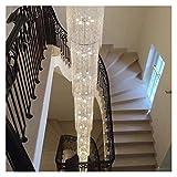 Candelabro moderno de lujo LED de cristal de roca iluminación de escaleras grandes arañas escaleras arañas escaleras colgantes lámparas de cristal
