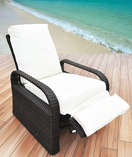 """Outdoor Recliner Wicker Patio Adjustable Recliner Chair with 5.11"""" Cushions and Ottoman,Rust-Resistant Aluminum Frame,All-Weather Resin Rattan, Brown& Orange"""