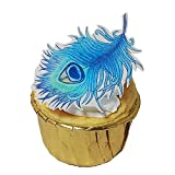 Chockacake Set of 30 Edible Wafer Blue Peacock Feather Cake Decorations,Cupcake Topper