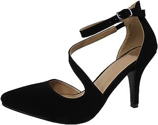 Cambridge Select Women's Closed Pointed Toe Buckled Crisscross Strap Stiletto Mid Heel Pump