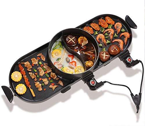 YAYY BBQ elektrische Grillpfanne mit heißem Topf 2 in 1 Innen/Außen 1400 Watt elektrischer Ofen/Teppanyaki elektrischer Grill/heißer Topf ohne Rauch und Antihaft(Upgrade)