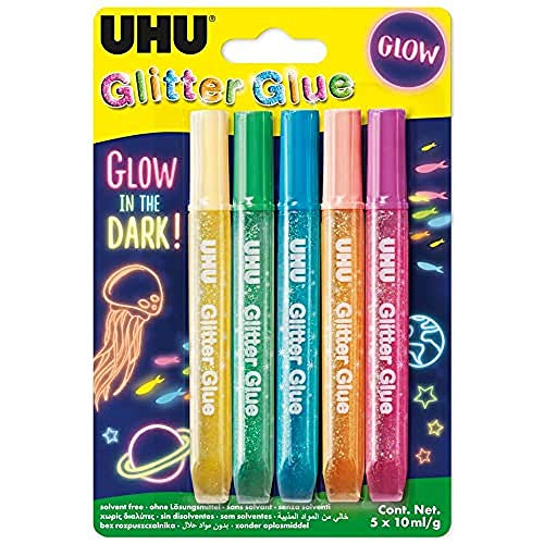 UHU Glitter Glue Glow in the Dark, Kleber zum Basteln, Dekorieren und kreativen Gestalten der im dunkeln leuchtet, 5 x 10 ml