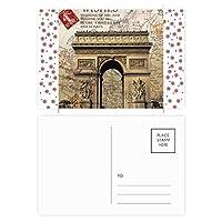 最高のパリ勝利のアーチ クリスマスの花葉書を20枚祝福する