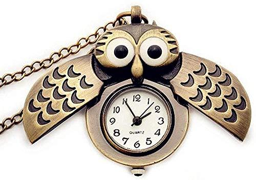 CCXXYANG Co.,ltd Necklace Antique Vintage Bronze Cute Owl Pocket Watch Fob Chain Necklace Pendant Flip Case Watch Hour Clock Animals Retro Pocket Watches