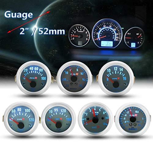 DXX-HR 2 '' 52mm Zifferblatt Auto Boost PSI/BAR Wasser Öl Temp-Öldruck-Tachometer Spannung Vakuummesser Universal 12V Typ R Zeigermessgerät (Color : Oil Temp Gauge)