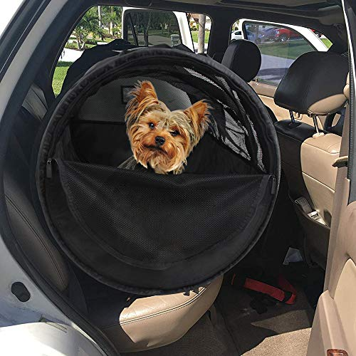 HandinHandCreations Pet Tube Soft Car Crate Large Kennel The Safe Dog and Cat Travel Mobile Home Pet Limo with Seat Belts and Storage Bag 47Lx24H Grey Color
