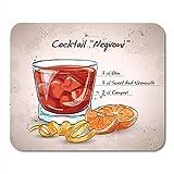 Alfombrilla de ratón Cóctel alcohólico Negroni Que consiste en Gin Campari Vermut Rojo Mousepad Alfombrillas De Raton