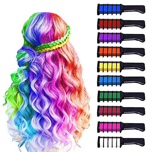 10 Color Hair Chalk for Girls Kids, Temporary Bright Hair Color Chalk Comb Set for Girls Of Ages 4 5...