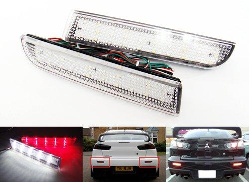 Lot de 2 réflecteurs LED pour pare-chocs arrière - Pour Mits Lancer Evo X Outlander ASX à partir de 2008