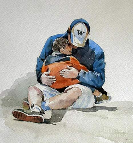 Pintura DIY por Números para Adultos Kits de Pintura a Óleo de Lona Infantil com Pincéis e Pigmento Acrílico -Pai abraça filho 40x50cm (sem moldura)