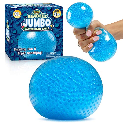 YoYa Toys Beadeez Squishy Stress Ball with Gel Water Beads - Jumbo Size (Blue) - Anti-Stress ADHD Anxiety Relief Sensory Toy for Kids and Adults - Promote Calm Focus Reduce Hand Wrist Pain