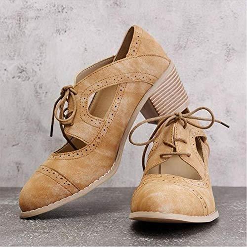 LJLLINGA Verano Vintage London Brogue Zapatos Mujer Sandalia con Cordones Tacones Altos...