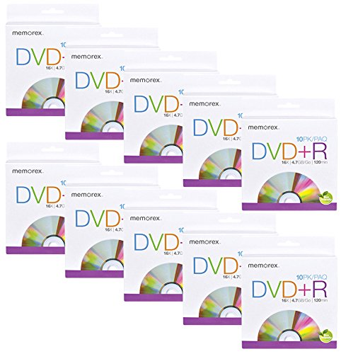 Memorex 32020060100 Blank DVD+R 16X 10 Pack Bulk of Ten (100 Total Discs)