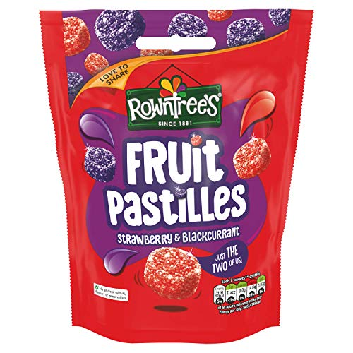 Rowntrees Fruit Pastilles Strawberry and Blackcurrant Sharing Pouch, 150 g - Pack of 10