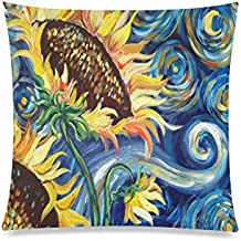 Vincent Van Gogh Painting Sunflower Rectangle Sofa Home Decorative Throw Pillow Case Cushion Cover Cotton Polyester Twin Side Printing 20 x 20 inches