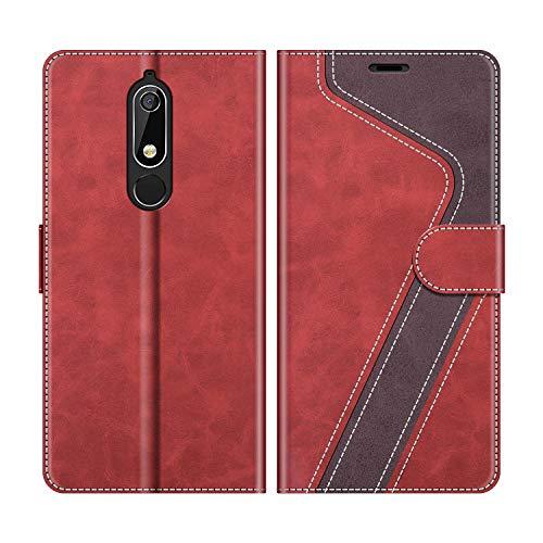 MOBESV Handyhülle für Nokia 5.1 Hülle Leder, Nokia 5.1 Klapphülle Handytasche Case für Nokia 5.1 Handy Hüllen, Modisch Rot