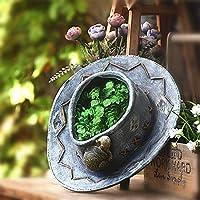 花の妖精の庭の装飾屋外ブルージーンズ効果カエルカタツムリ多肉植物植物花、帽子