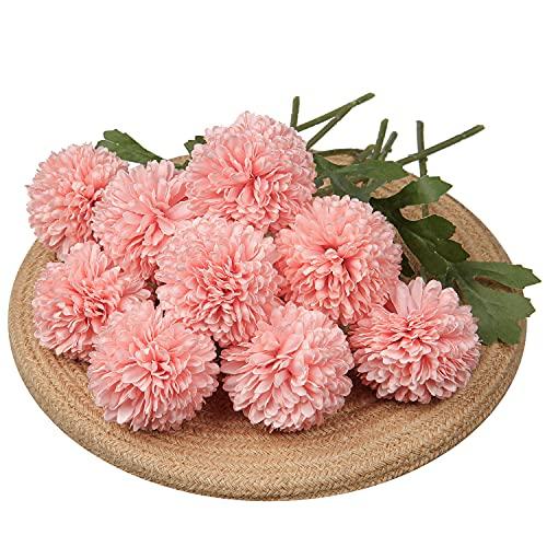 Lot de 9 fleurs de chrysanthèmes artificielles avec tige souple en soie pour jardin, fête, bureau, décoration de mariage, bouquets de fleurs