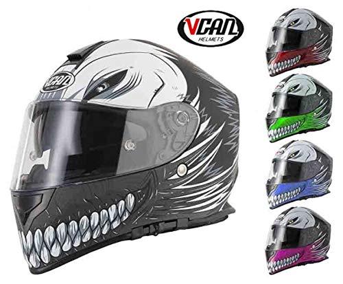 NUEVO ESTILO VCAN V127 HUECO ROJO GR/ÁFICO moto de la motocicleta SCOOTER CRASH PISTA CASCO R/ÁPIDO DEPORTES CARA LLENA ACU y pasamonta/ñas L 59 a 60cm