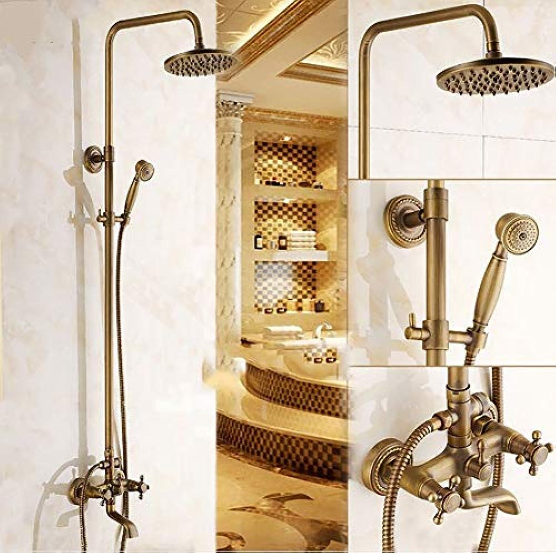 ERCZYO Duschsysteme Brausegarnituren, Messingbeschlge, Creative Retro Wandmontage 8-Zoll-Topbrause Handbrause mit Einem Handgriff Hei- und Kaltwasserumformer, 1,5 m Schlauch (Farbe  Messing)