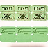 fb 100 Green Colored Raffle Tickets Double Roll 50/50 Carnival Fair Split The Pot One Hundred Consecutively Numbered Fundraiser Festival Event Party Door Prize Drawing Perforated Stubs