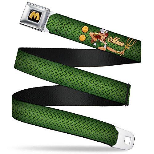 BUCKLE-DOWN cinturón–cinturón Mera kimberling Salute Pose/báscula verdes/oro–2.5cm de ancho–20–36inches de largo