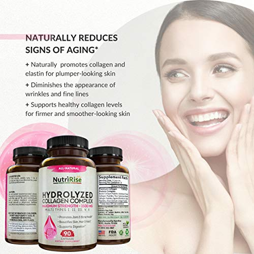 51joGXHqaXL - Multi Collagen Peptides Capsules (Types I, II, III, V, X). Extra-Strength Hydrolyzed Pure Protein Powder for Hair Growth, Skin & Nails. Anti-Aging Joint Supplement for Women & Men. Gluten-Free Pills