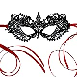 The Authentic 50 Shades Darker Ana Masquerade Mask - Luxury Silver Lace Anastasia Goddess Mask (Black and red)
