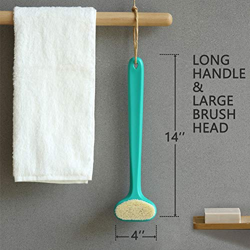 Upgraded Bath Body Brush with Comfy Bristles Long Handle Gentle Exfoliation Improve Skin's Health and Beauty Wet or Dry Brushing Back Scrubber for Shower (White)