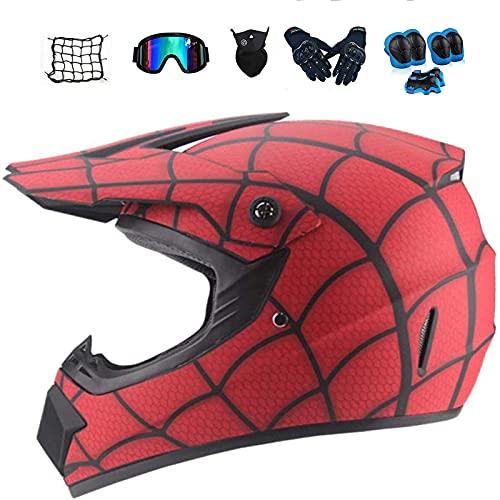 Conjunto de Casco Cruzado de Motocicleta (Gafas, Guantes, máscaras, Redes de Motocicleta, Almohadillas de Rodilla) Adecuado para Adultos, Adolescentes y niños.Matte,XL