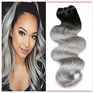 New Ombre Grandma Grey Brazilian Body Wave Hair Bundles,1PC Lot 1b Silver Grey 2 Tone 7a Ombre Human Virgin Hair Wavy Weav...