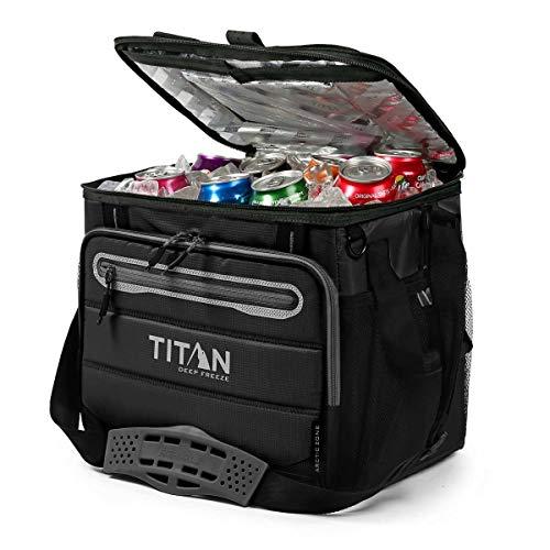 TITAN Nevera portatil Capacidad 40 latas + Hielo 1330878 5 Capas de Aislamiento. hasta 2 dias de conservacion del Hielo. Color Negro.